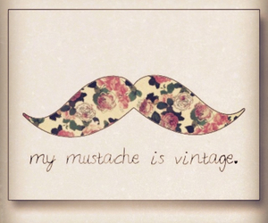vintage, mustache, and flowers image