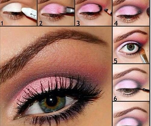 makeup, pink, and eyes image