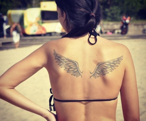 brunette, wings, and girl image