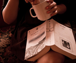 book, photography, and coffee image