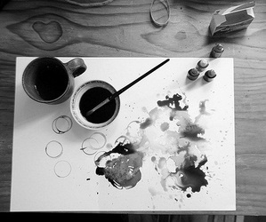 art, black and white, and love image