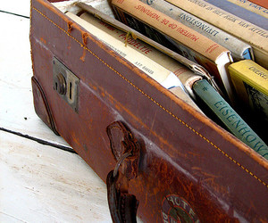 books, suitcase, and vintage image