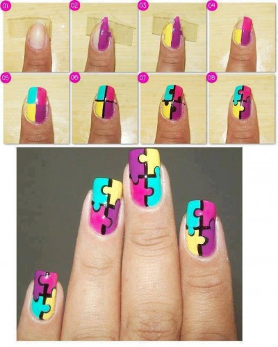 How To Make Puzle Nail Art Step By Step Diy Instructions How To