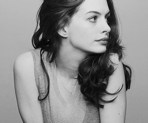 Anne Hathaway, actress, and black and white image