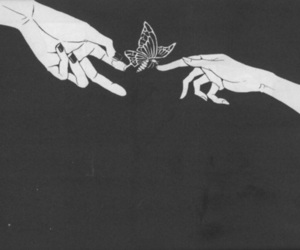 butterfly, hands, and black and white image