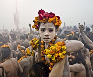 boy, india, and flowers image