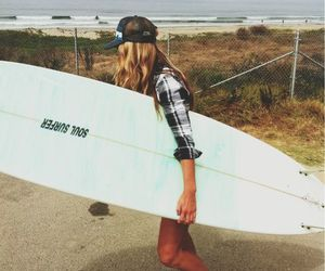 girl, surf, and beach image