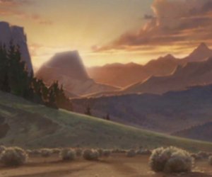 animation, background, and mountains image