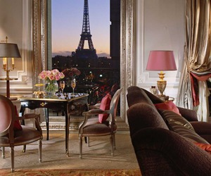 eiffel tower, flowers, and hotel image
