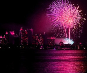 fireworks, pink, and city image