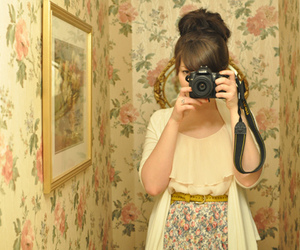camera, dress, and flowers image