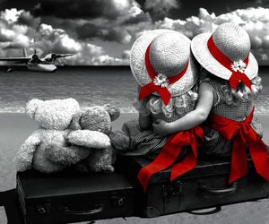 red, beach, and friends image