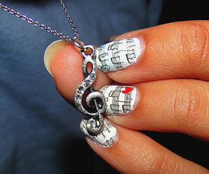 music, nails, and necklace image