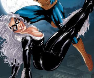 black cat, Marvel, and spiderman image