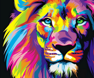 art, lion, and colourful image