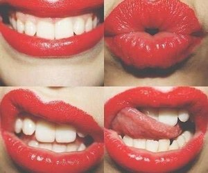 lips, red, and kiss image