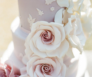 bridal, weddingcake, and roses image