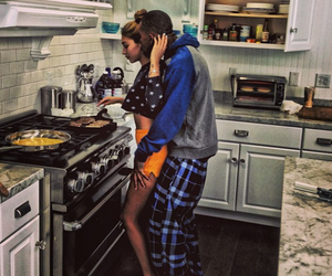 couple, cooking, and kitchen image