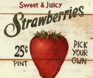 strawberry, vintage, and red image