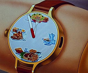 food, clock, and time image