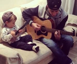 boy, guitar, and baby image