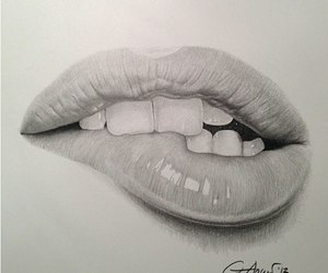lips, black and white, and drawing image