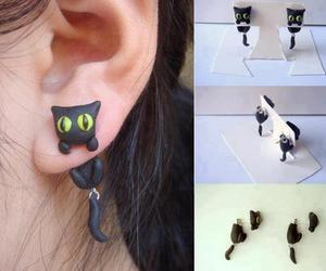 cat, earrings, and black image