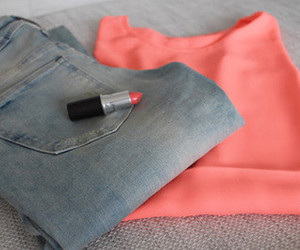 pink, jeans, and lipstick image