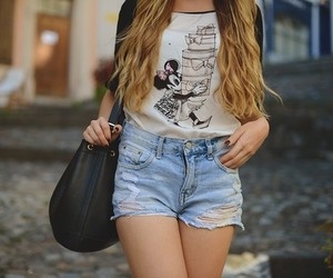 bag, t shirt, and blond image