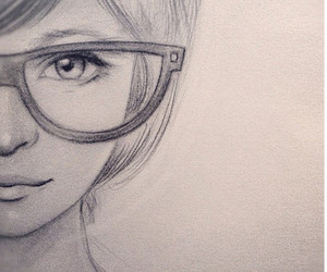 girl, drawing, and glasses image