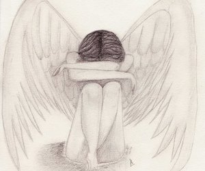 angel, cry, and drawing image