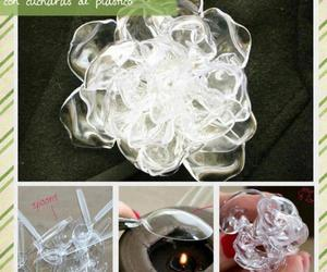 cucharas, flor, and plastico image