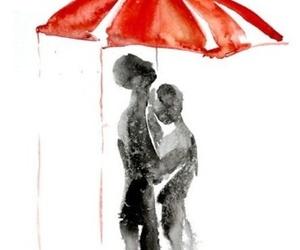 art, umbrella, and couple image