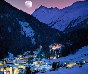 austria, mountains, and lights image