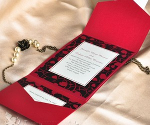 red and wedding invitations image