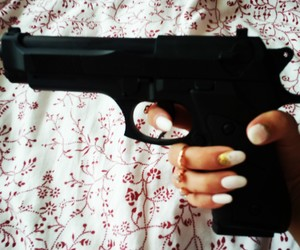 gun, nails, and white image