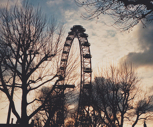 ferris wheel, nature, and sky image