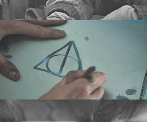 deathly hallows, harry potter, and invisibility cloak image
