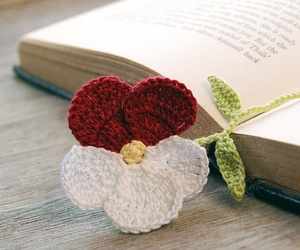 bookmark, crochet, and flower image