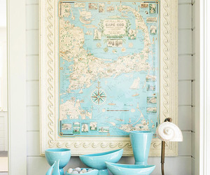 map, blue, and decor image