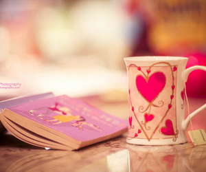 book, tea, and heart image