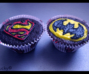 batman, cupcake, and superman image