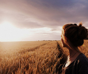 girl, sun, and field image