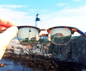 glasses, sunglasses, and landscape image