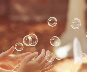 bubble, childhood, and hand image