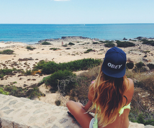 girl, beach, and obey image