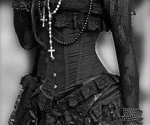 lace, corset, and goth image