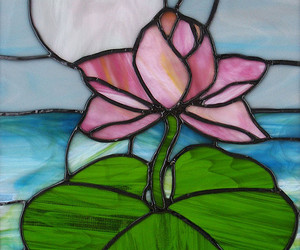 flower, lotus, and stained glass image