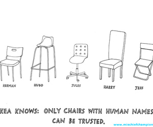 comic, ikea, and chairs image