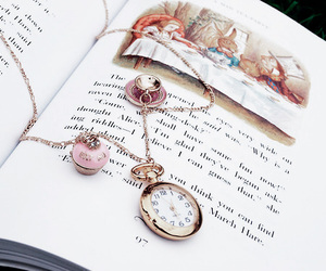 alice, alice in wonderland, and pocket watch image
